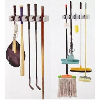 Magic Hanging Mop Holder Broom Organizer Magic Hanger Gantungan Sapu Alat Pel 3 Slot 4 Hanger