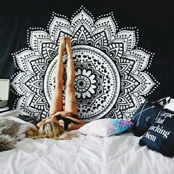 Mandala Tapestry Beach Throw Towel Wall Hanging Bohemian Yoga Mat (ukuran: 1)-