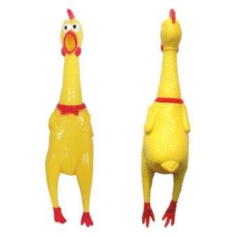 Menjerit Kecil Kuning Ayam Karet Pet Anjing Mengunyah Mainan Disokong Pencicit Hadiah S Ukuran