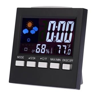 Multi-fungsional Digital Colorful LCD Thermometer Hygrometer Jam Fungsi Alarm Snooze Kalender Ramalan Cuaca Ditampilkan