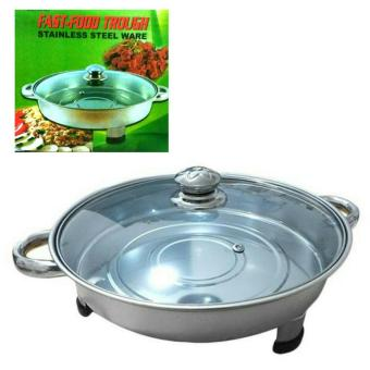 New Round Fast Food Dish Stainless bulat tutup kaca. prasmanan bulat stainless tutup kaca