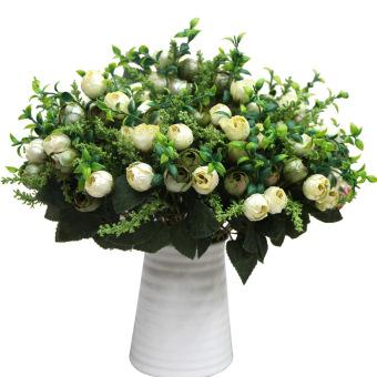 OEM 12 heads mutiara palsu Mutiara mawar buket rumah dekorasi taman partai (putih susu)