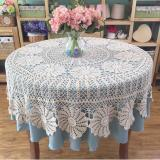Oleno Kitchen- Vinyl Crochet Lace Tablecloth- Taplak Meja Bulat Dekorasi Meja-Putih -
