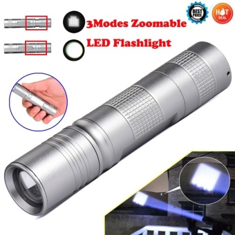 Portable Q5 LED 18650 Mini Flashlight Torch Lamp Light Silver -intl