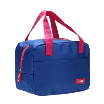 Portable Waterproof Thickness Insulated Picnic School Lunch Bag (Dark Blue) - intl