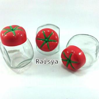 Raisya Toples Kaca Mini Wadah Bumbu Tutup Motif Buah - 3pcs - Merah