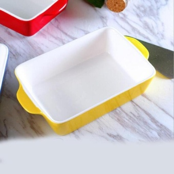 Rectangle Bentuk Keramik Baking Pans untuk Keju & Amp; Rice Digunakan Formicrowave Oven Non-stick Baking Pan Kitchen Tools-Intl