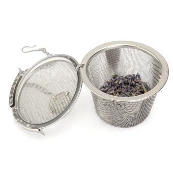 Reusable Stainless Mesh Herbal Ball Tea Spice saringan ketel (Silver)