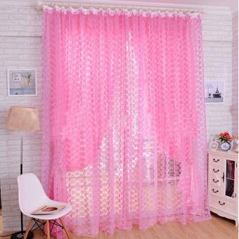Mawar Kain Tule Tirai Jendela Pintu Tirai Balkon Panel Tipis 200X100 Cm Merah Muda