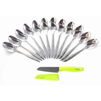 Rosita 12pcs Sendok Makan Stainless Steel Tebal Platinum RA & 1pc Pisau warna