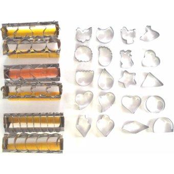 Rosita 6pcs + 1 set Cetakan Kue Kering Stainless Steel