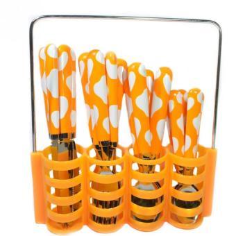 Sendok Set Polkadot 24 Pcs - Stainless Steel - Orange