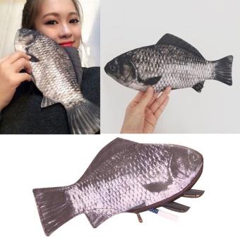 Silver Carp Ikan Asli-Seperti Zipper Pena & Make-Up Pouch Pensil Case Lucu