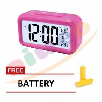 Smart Digital LCD/LED Alarm Clock Temperature Calendar Auto Night Sensor Clock - Pink Gratis