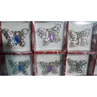 Souvenir Pernikahan Bros Kupu - Kupu Silver Isi 100 Pcs