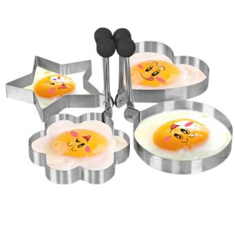 Stainless Steel Dadar Goreng Telur Cincin Pancake Cetakan (Set Of Heart Star Round Flower Shaped