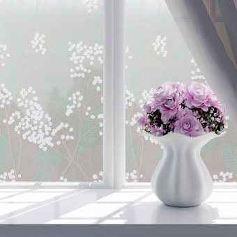 Sunshop 45X200 Cm Biru Pohon Bunga Tabir Surya Privasi Tahan Air Bath Door Window PVC Perekat
