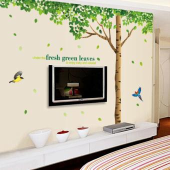 Super Besar Hijau Daun Pohon Burung Kertas Stiker Dinding Rumah Stiker Dinding Can Dilepas Gaya Vinil