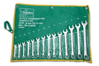 Tekiro Kunci Ring Pas Set 14 Pcs, Size 8 - 24 Mm