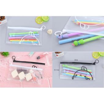 Tempat Pensil / Kotak Pensil Case Zipper Plastik Motif Molang Black n White - 1Pcs