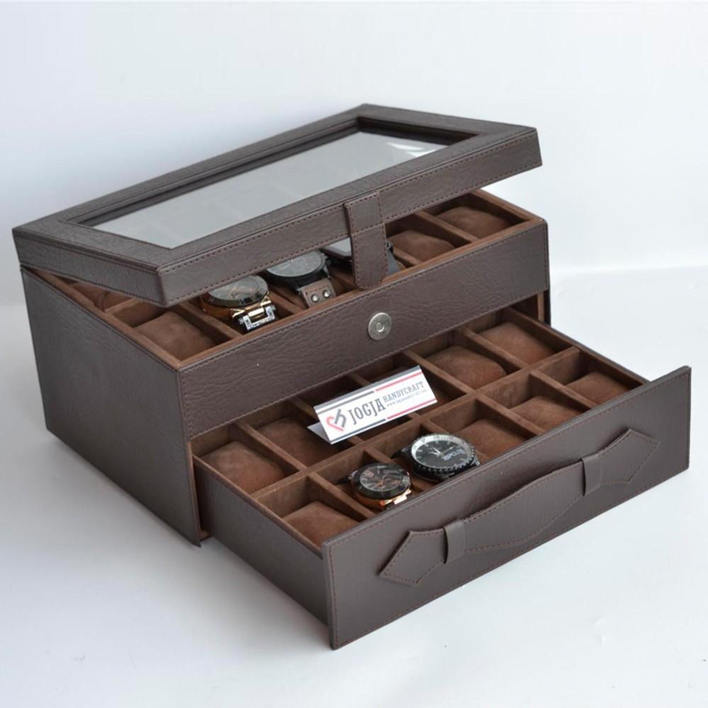 tempat penyimpanan jam tangan isi 24 / box jam / kotak jam tangan / watch box organizer