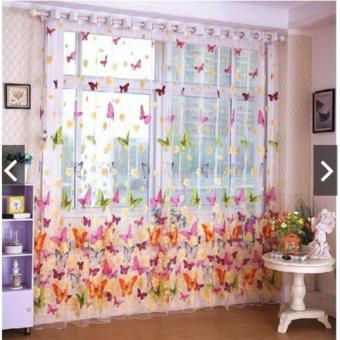 Tirai Jendela Pemisah Ruangan Kain Pual Tipis Transparan Model Kupu-kupu Sebagai Hiasan Panel