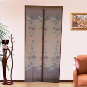 Tirai Pintu Magnet Anti Nyamuk Motif Bunga - coklat