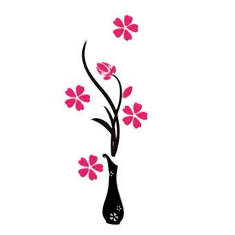 UINN Indah 3D Tiga Dimensi Vas Latar Belakang Bunga Pohon Stiker Dinding-Internasional