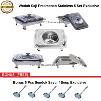 Wadah Saji Prasmanan Stainless 5 Pcs Exclusive