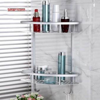 Wall Mounted Dua Lapisan Kamar Mandi Rak Ruang Aluminium Handuk Cuci Shower Basket Bar Shelf/