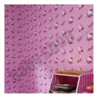 Wallpaper Stiker Dinding Motif Hello Kitty Bintik Fariasi Size 45cm X 10M - Pink