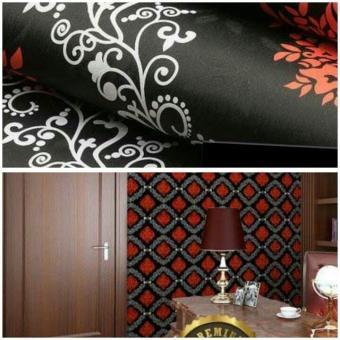 Walpaper Sticker Dinding Hitam Batik Merah Putih