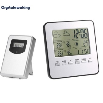 Wireless Digital LCD Weather Station Alarm Clock Outdoor Indoor Thermometer (White) - intl