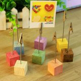 Detail Gambar Wooden Memo Paper Note Picture Table Card Number Clip Holder Red - intl Terbaru