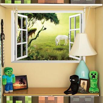 Yika 3D Kuda Padang Rumput Pohon Jendela Tampilan Wall Sticker (Aneka Warna)