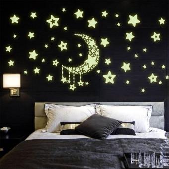 Yika menyala dalam kegelapan yang bercahaya bulan bintang stiker dinding (hijau)