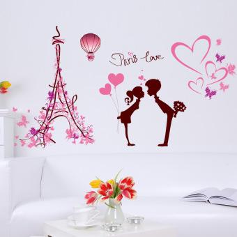 Yika Paris Yang Dapat Dilepas Cinta Seni Mengutip Wall Sticker Gaya Vinil (Berwarna Merah Muda
