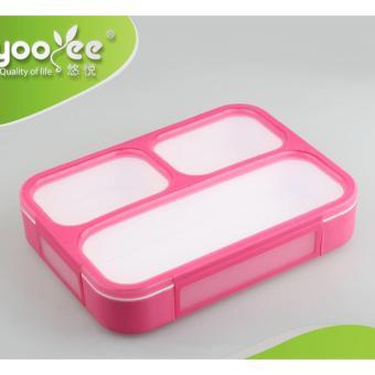 Yooyee Kotak Makan Grid Bento Lunch Box 3 Sekat Anti Bocor
