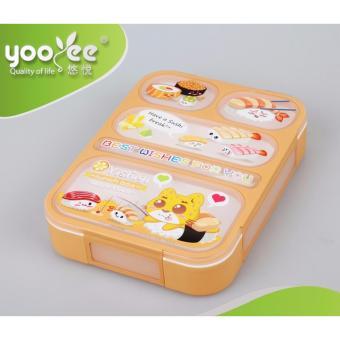 Yooyee Kotak Makan Grid Bento Lunch Box 5 Sekat Anti Bocor Karakter
