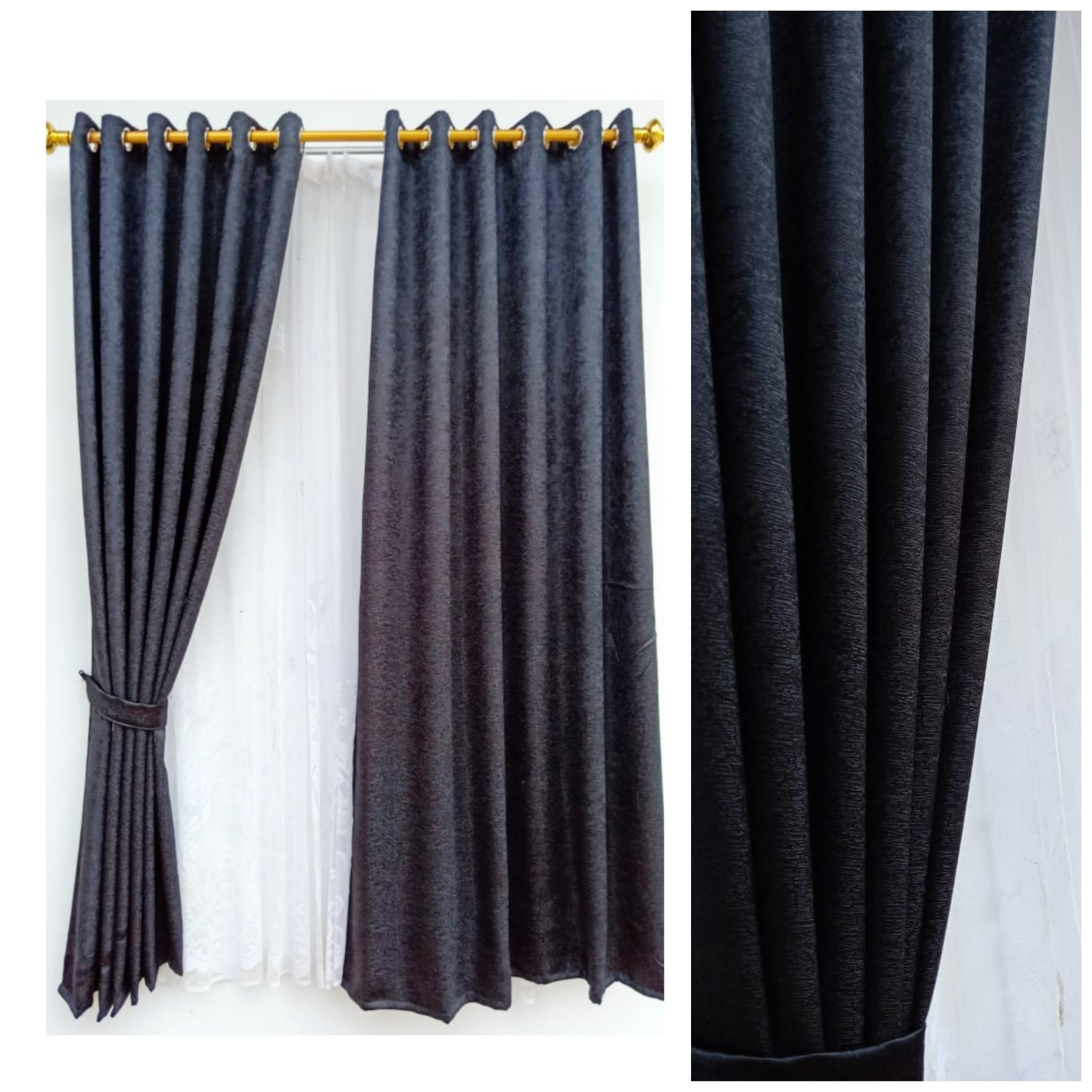 Gorden blackout serat hitam tirai jendela pintu minimalis murah dekorasi rumah mewah import terbaru