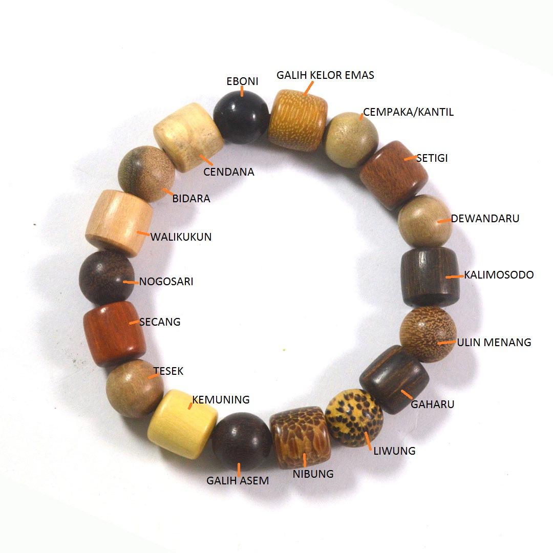 icbeads gelang campuran 18 jenis kayu bulat kombinasi tabung