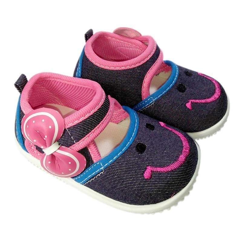 K02 sepatu anak bayi perempuan denim jeans bahan sol lembut model casual lucu murah pita terbaru