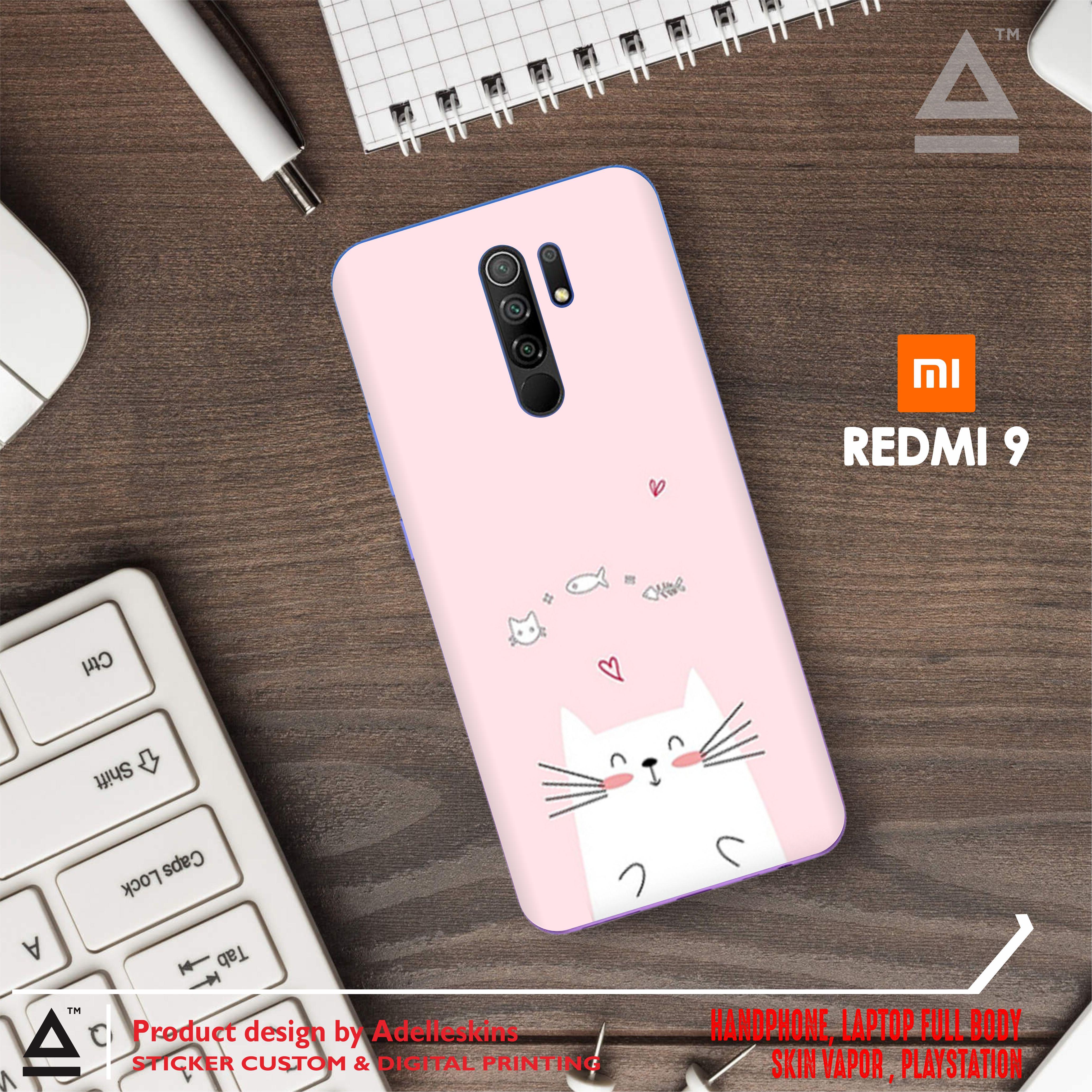 (bisa cod) garskin handphone xiaomi redmi 9 custom isi 2 pcs
