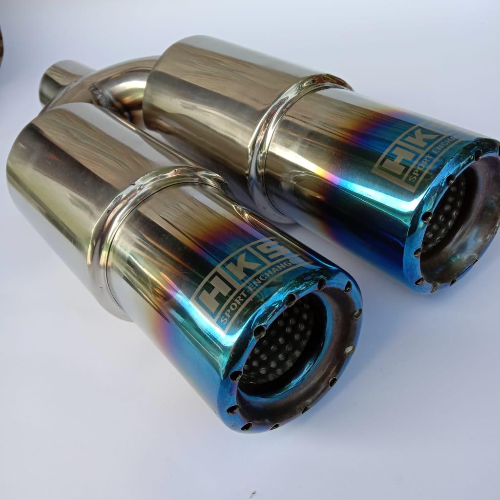 cod knalpot mobil hks racing blue cabang full stainles full bass