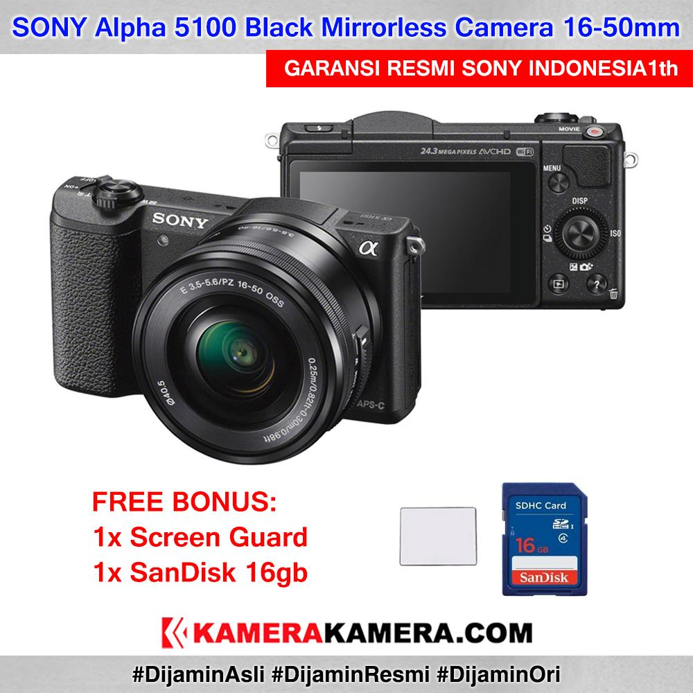 SONY Alpha 5100 with 16-50mm Lens Mirrorless Camera a5100 WiFi 24MP Full HD Garansi Resmi 1th + Screen Guard + SanDisk 16gb