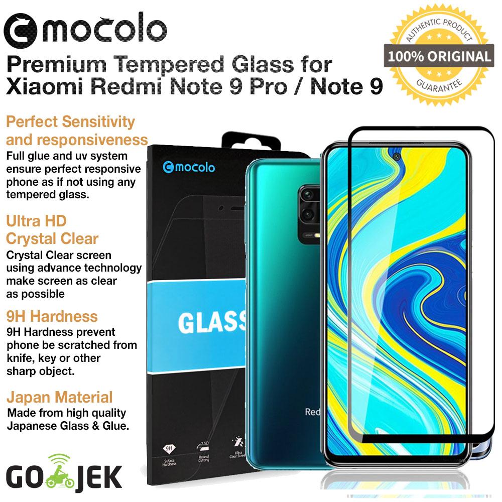 original mocolo premium full cover tempered glass xiaomi redmi note 9 pro & redmi note 9 – anti gores & screen guard & protector
