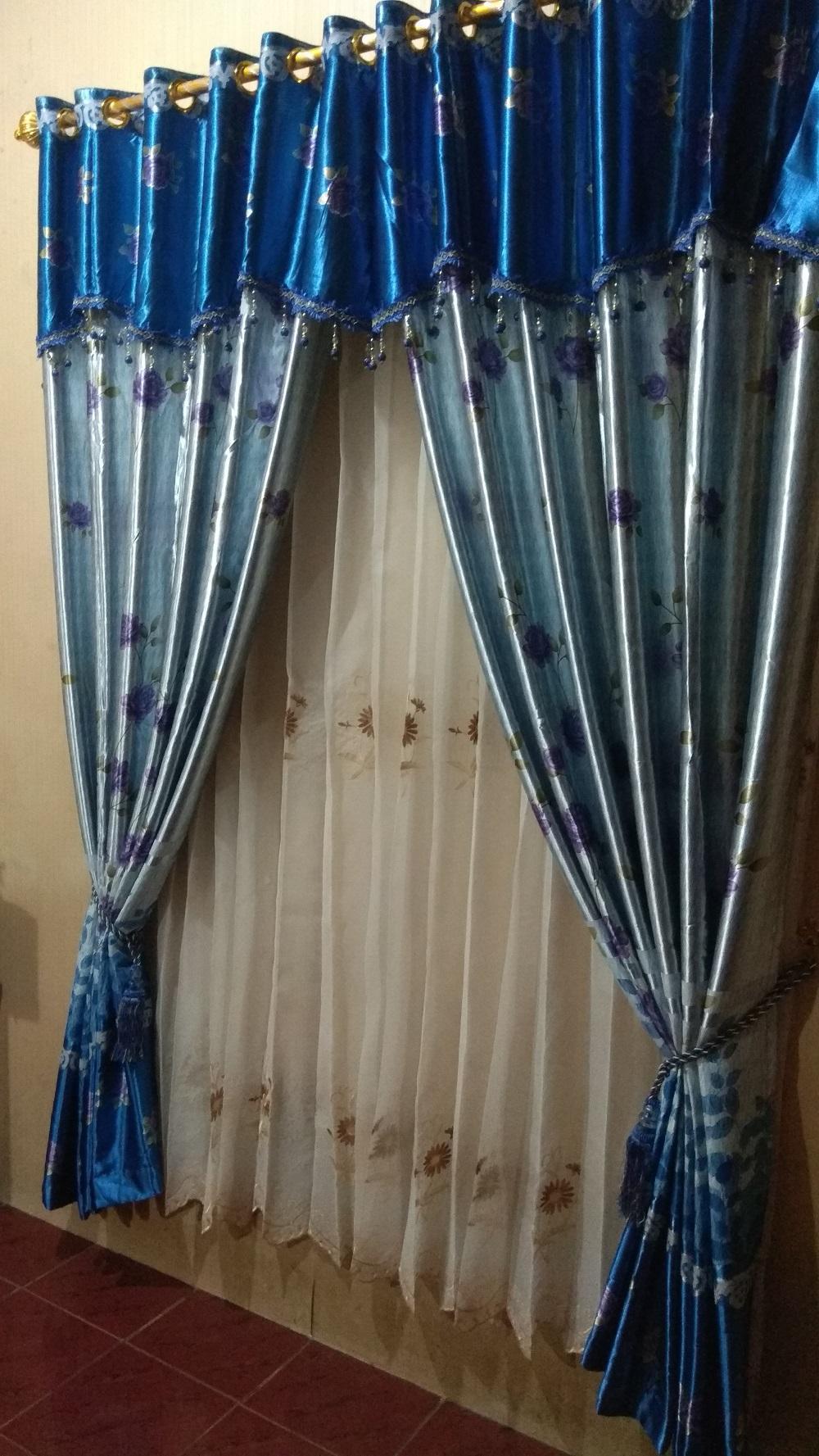 Detail Gambar Gorden Blackout PONI Mawar BIRU Terbaru