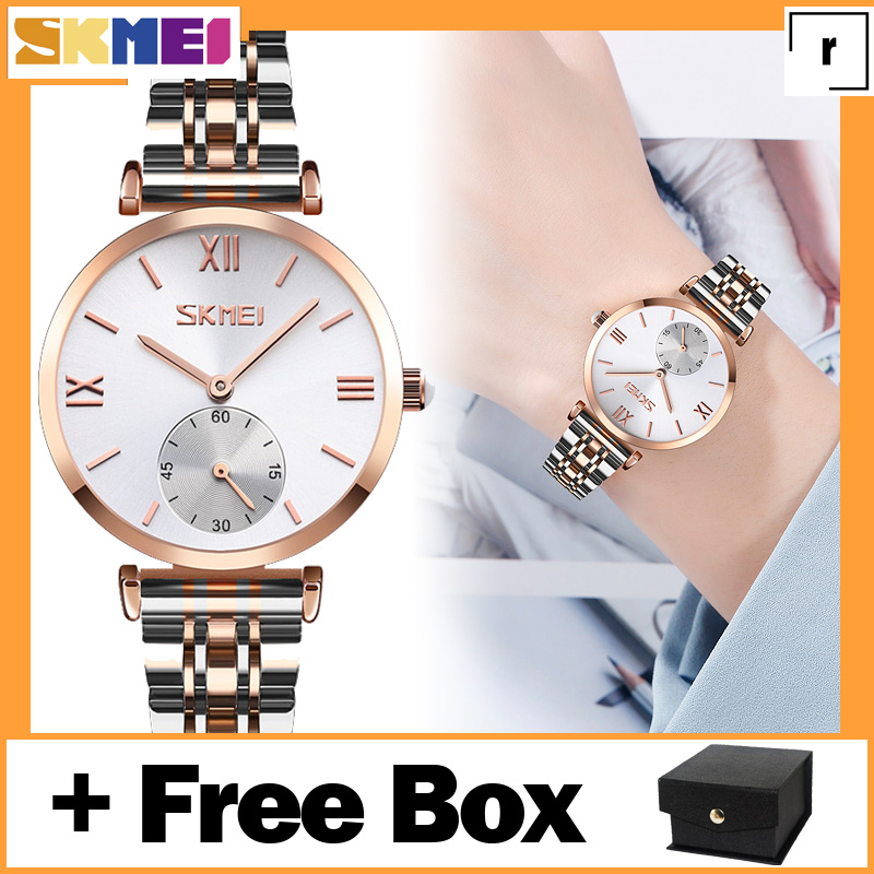 Jual SKMEI 9198 Jam Tangan Couple Profesional Business Analog Quartz Stainless Steel 32 mm - Anti Air 30 M - Free Box 9198 Paling Laku