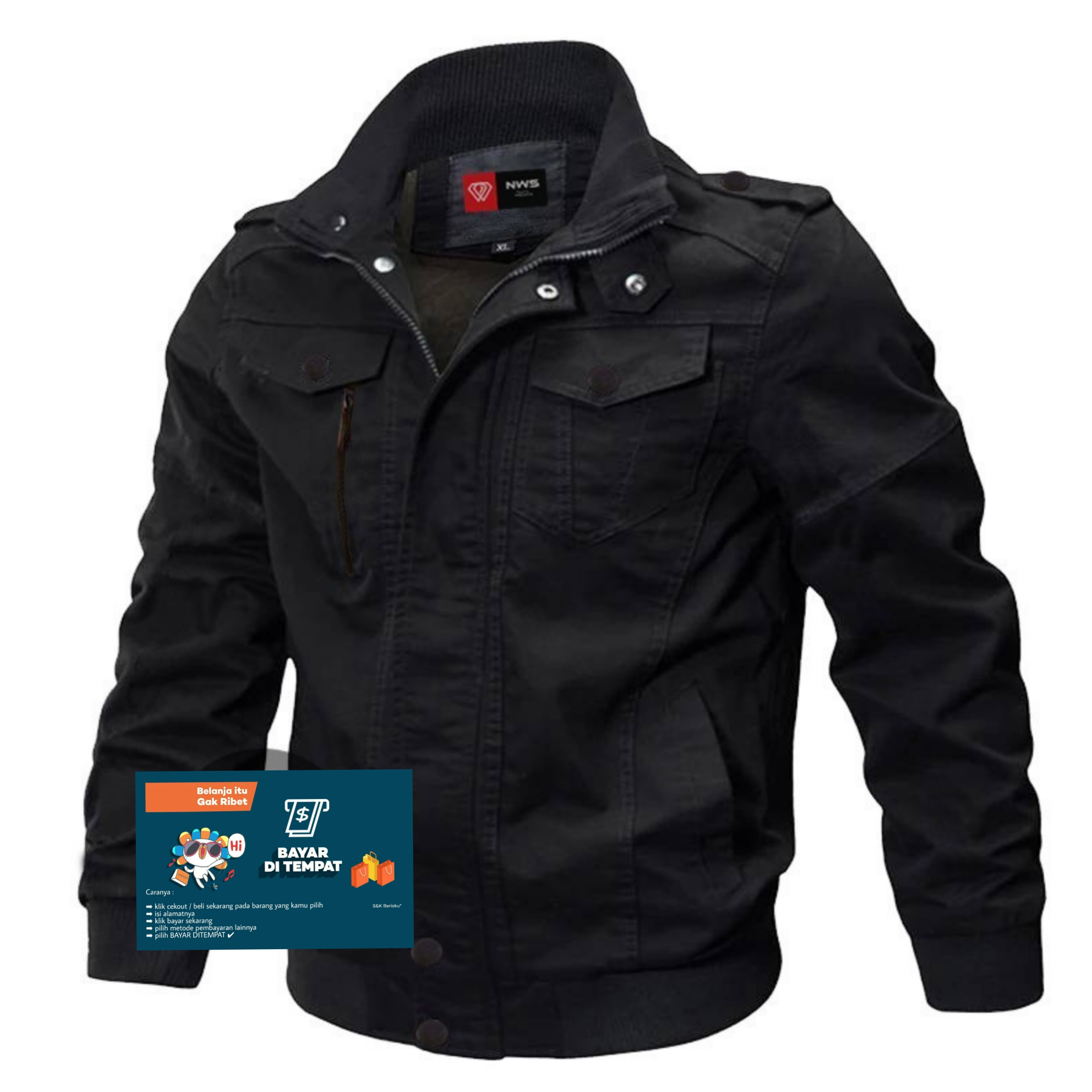 banget jaket pria model korea .jaket bomber outdoor bahan bagus enak pakai 2 lapis ..jaken bomber