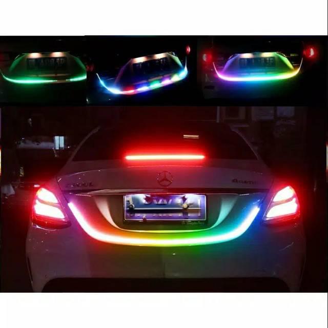 kado unik– lampu led tail trunk bagasi belakang atraktif running drl rgb dc-12v / lampu mobil waterproof / lampu bagasi mobil warna warni  / kado ulang tahun
